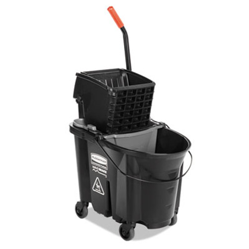 Rubbermaid Commercial WaveBrake Side-Press Wringer/Bucket Combo, 35 Qt, Black (RCP 1863896)
