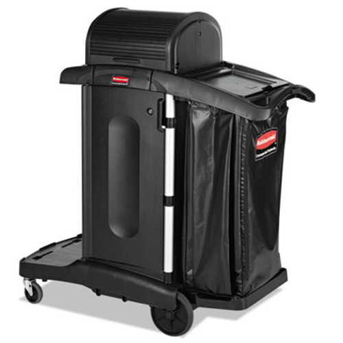 Rubbermaid Commercial Executive High Security Janitorial Cleaning Cart, 23-1/10 x 39-3/5 x 27-1/2, Blk (RCP 1861427)