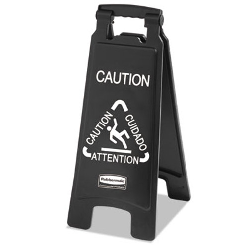 Rubbermaid Commercial Executive 2-Sided Multi-Lingual Caution Sign, Black/White, 10 9/10 x 26 1/10 (RCP 1867505)