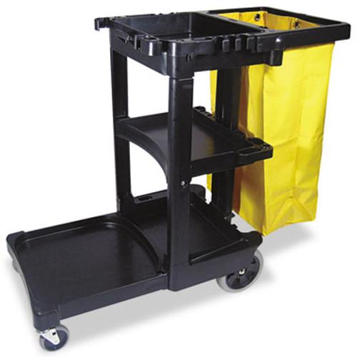 Rubbermaid Commercial Multi-Shelf Cleaning Cart, Three-Shelf, 20w x 45d x 38-1/4h, Black (RCP 6173-88 BLA)