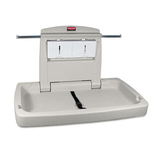 Rubbermaid Commercial Sturdy Station 2 Baby Changing Table, Platinum (RCP 7818-88 PLA)