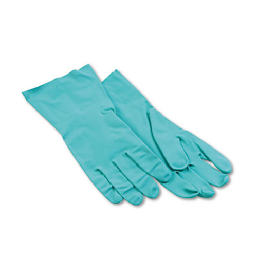 Boardwalk Nitrile Flock-Lined Gloves, Large, Green, Dozen (BWK 183L)