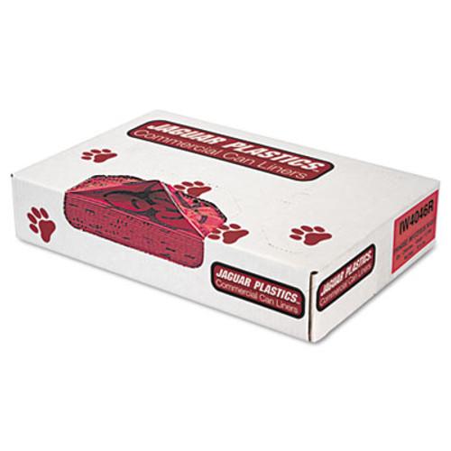 "Jaguar Plastics Health Care ""Biohazard"" Printed Liners, 1.3mil, 40 x 46, Red, 100/Carton (JAG IW4046R)"