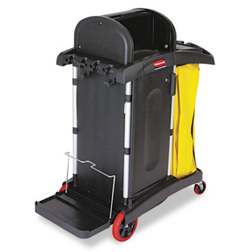 Rubbermaid Commercial High-Security Healthcare Cleaning Cart, 22w x 48-1/4d x 53-1/2h, Black (RCP 9T75)