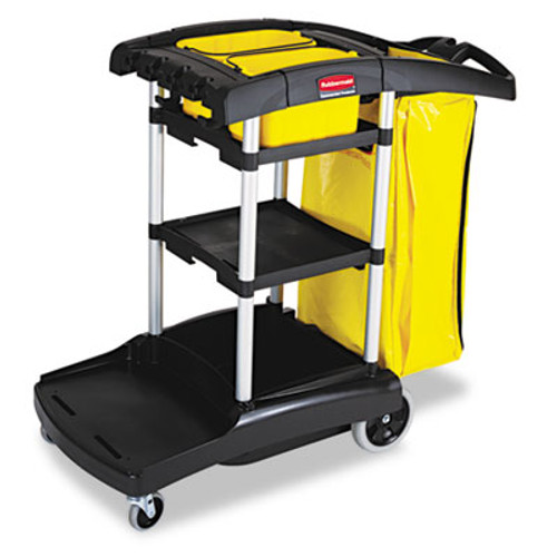 Rubbermaid Commercial High Capacity Cleaning Cart, 21-3/4w x 49-3/4d x 38-3/8h, Black (RCP 9T72)