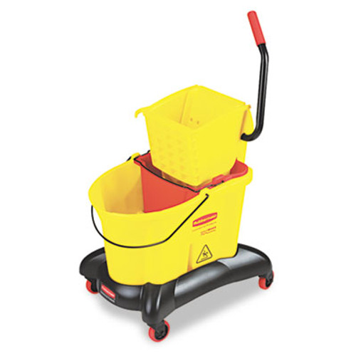Rubbermaid Commercial Wavebrake 35 Qt Dual Water Side Press Mop Bucket & Wringer, Yellow (RCP 7680 YEL)