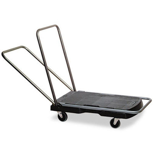 "Rubbermaid Commercial Utility-Duty Home/Office Cart, 250 lb Capacity, 20 1/2"" x 32 1/2"" Platform, BK (RCP 4400 BLA)"