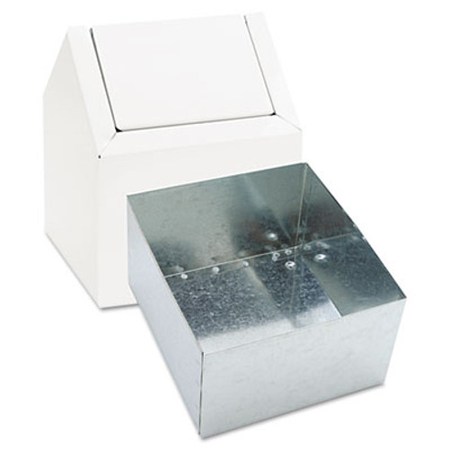 HOSPECO Sanitary Napkin Floor Receptacle, Double Entry Swing Top, Metal, White (HOS 2201)