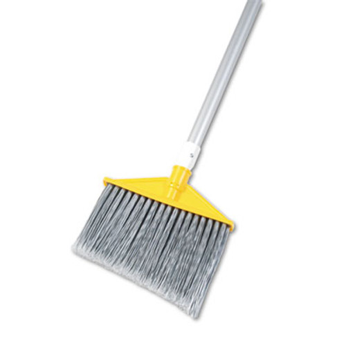 "Rubbermaid Commercial Angled Large Brooms, Poly Bristles, 48 7/8"" Aluminum Handle, Silver/Gray (RCP 6385 GRA)"