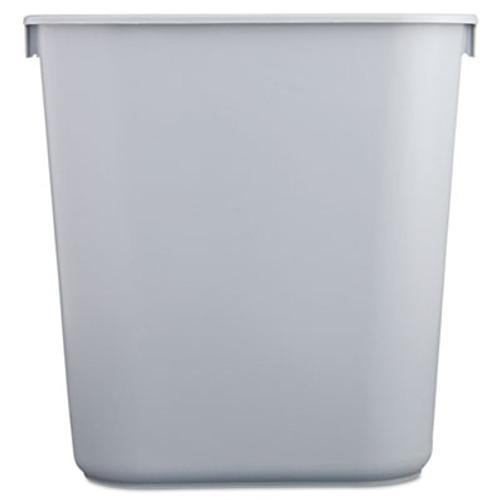Rubbermaid Commercial Deskside Plastic Wastebasket, Rectangular, 3 1/2 gal, Gray (RCP 2955 GRA)