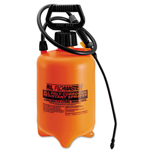 R. L. Flomaster Acid-Resistant Sprayer, Wand w/Nozzle, 2gal, Polyethylene, Orange/Black (RLF 1992A)