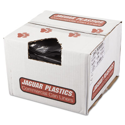 Jaguar Plastics Repro Low-Density Can Liners, 1.5 Mil, 38 x 58, Black, 10 Bags/Roll, 10 Rolls/CT (JAG R3858H)