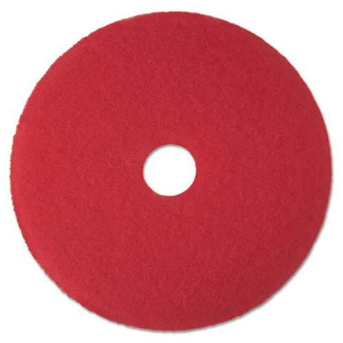 "3M Red Buffer Floor Pads 5100, Low-Speed, 17"", 5/Carton (MCO 08392)"