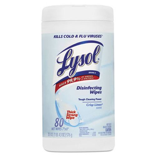 LYSOL Brand Disinfecting Wipes, Crisp Linen, 7 x 8, 80/Canister (REC 89346)