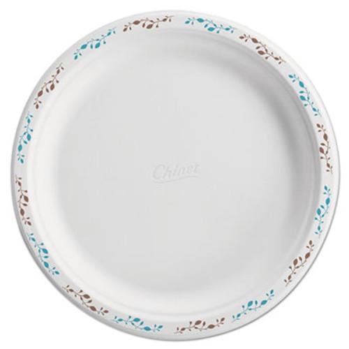 "Chinet Molded Fiber Dinnerware, Plate, 10 1/2""Dia, WH, Vines, 125/Pack, 4 Packs/Carton (HUH 22519)"