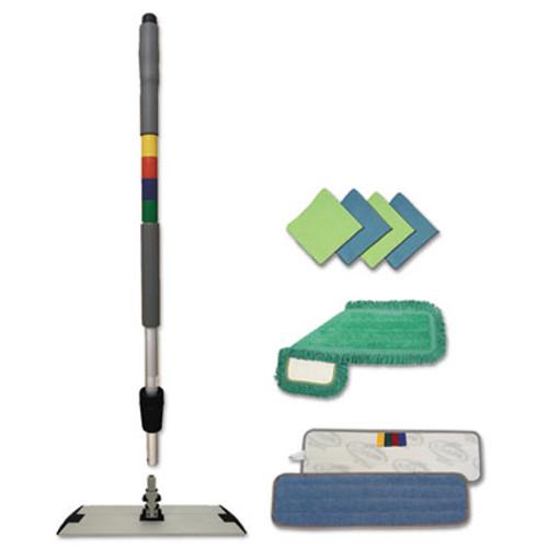 """Boardwalk Microfiber Mopping Kit, 18"""" Mop Head, 35-60""""Handle, Blue/Green/Gray (BWK MFKIT)"""