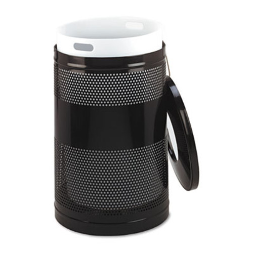 Rubbermaid Commercial Classics Perforated Open Top Receptacle, Round, Steel, 51gal, Black (RCP S55ETBK)
