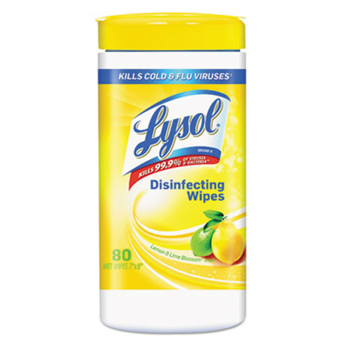 LYSOL Brand Disinfecting Wipes, Lemon and Lime Blossom, White, 7 x 8, 80/Can, 6 Cans/CT (RAC77182CT)