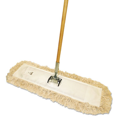 "Boardwalk Cut-End Dust Mop Kit, 24 x 5, 60"" Wood Handle, Natural (BWK M245-C)"