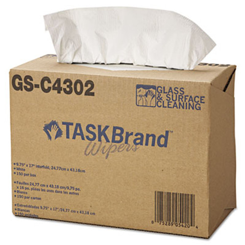 Hospital Specialty Co. TASKBrand Glass & Surface Wipers, 4Ply, 9 4/5 x 17, White, 150/Box, 6 Box/Carton (HOS GS-C4302)