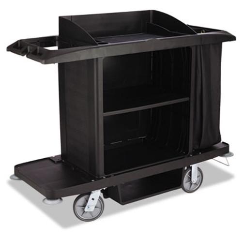 Rubbermaid Commercial Housekeeping Cart, 22w x 60d x 50h, Black (RCPFG618900BLA)