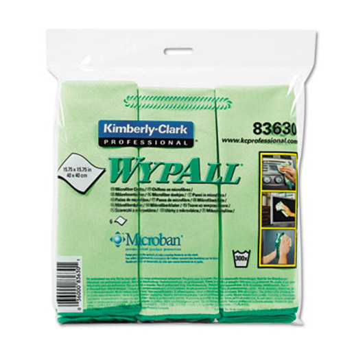 WypAll* Cloths w/Microban, Microfiber 15 3/4 x 15 3/4, Green, 24/Carton (KCC83630CT)