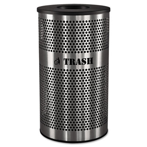 Ex-Cell Stainless Steel Trash Receptacle, 33gal, Stainless Steel (EXCVCT33PERFS)