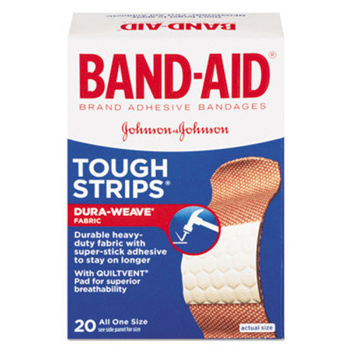 "BAND-AID Flexible Fabric Adhesive Tough Strip Bandages, 1"" x 3 1/4"", 20/Box (JOJ4408)"