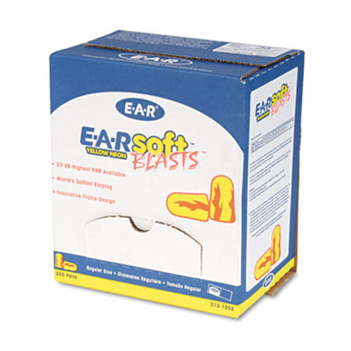 3M E·A·Rsoft Blasts Earplugs, Uncorded, Foam, Yellow Neon/Red Flame, 200 Pairs (MMM3121252)