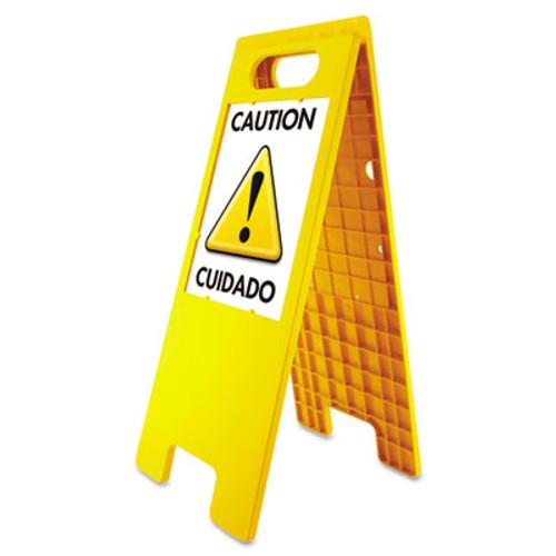 "Headline Sign Floor Tent Sign, Doublesided, Plastic, 10 1/2"" x 25 1/2"", Yellow (USS5693)"