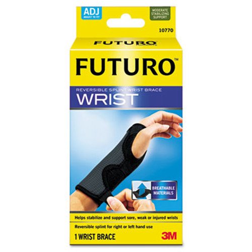 "FUTURO Adjustable Reversible Splint Wrist Brace, Fits Wrists 5 1/2""- 8 1/2"", Black/Gray (MMM10770EN)"