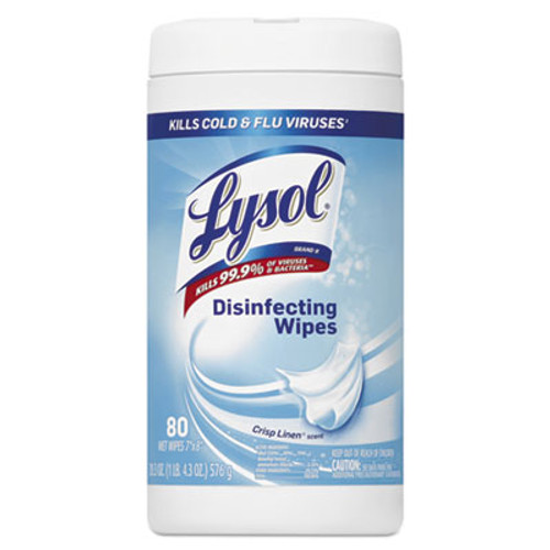 LYSOL Brand Disinfecting Wipes, Crisp Linen Scent, 7 x 8, 80/Canister, 6 Canister/Carton (RAC89346CT)