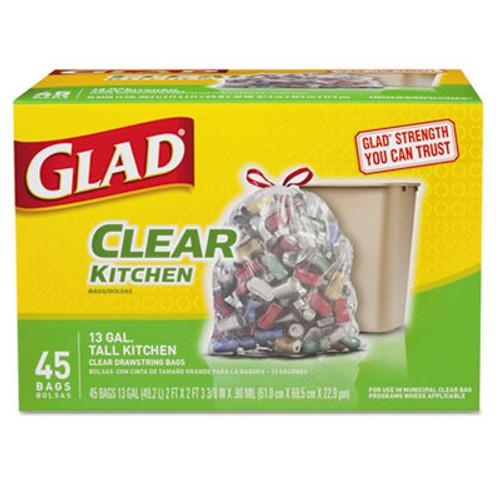 Glad Recycling Tall Kitchen Trash Bags, Clear, Drawstring, 13 gal, .9 mil, 45/Box (CLO78543)