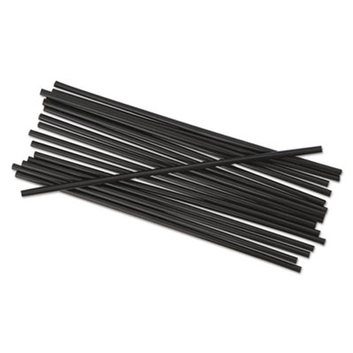 "Boardwalk Unwrapped Single-Tube Stir-Straws, 5 1/4"", Black, 1000/Pack (BWKSTRU525B10PK)"