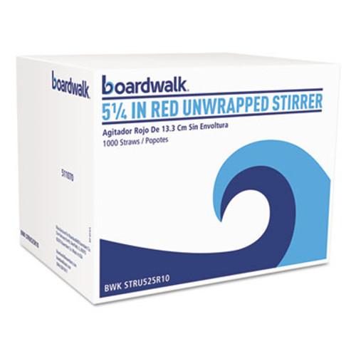 "Boardwalk Unwrapped Single-Tube Stir-Straws, 5 1/4"", Red, 1000/Pack (BWKSTRU525R10PK)"