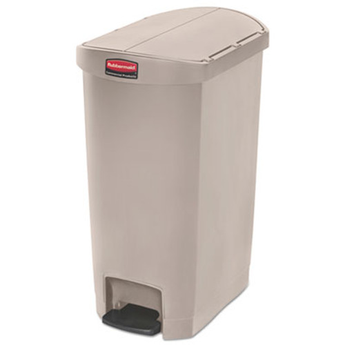 Rubbermaid Commercial Slim Jim Resin Step-On Container, End Step Style, 13 gal, Beige (RCP1883459)