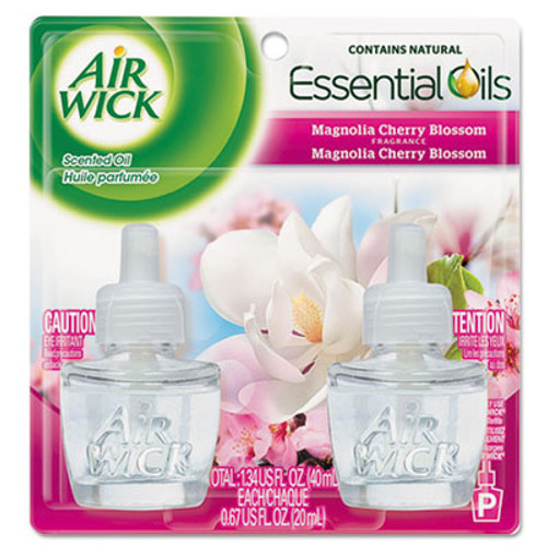 Air Wick Scented Oil Refill, Calming - Magnolia & Cherry Blssm.67oz, Pink, 2/PK, 6 PK/CT (RAC80095CT)