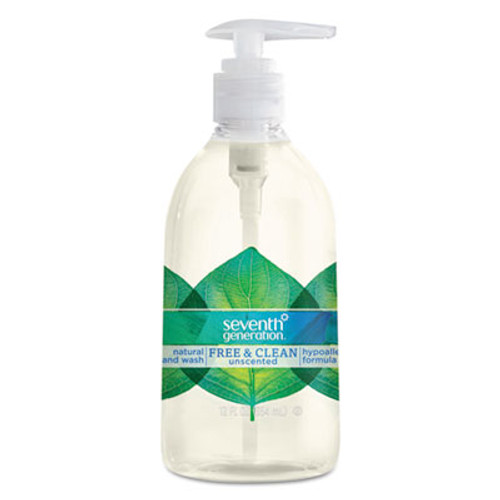 Seventh Generation Natural Hand Wash, Free & Clean, Unscented, 12 oz Pump Bottle, 8/CT (SEV22930CT)