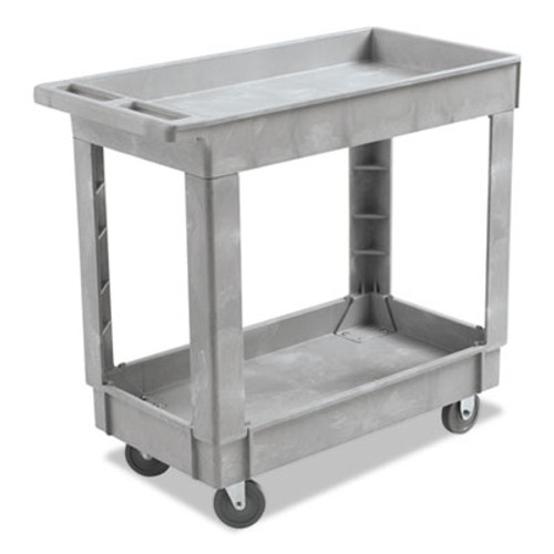 Boardwalk Utility Cart, Two-Shelf, 16w x 34d, Swivel Casters, Resin, Gray (BWK3416UCGRA)