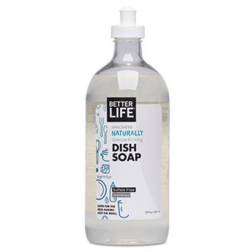 Better Life Naturally Grease-Kicking Dish  Soap, Unscented, 22 oz Bottle (BTR895454002157)