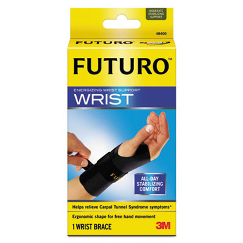 "FUTURO Energizing Wrist Support, S/M, Fits Right Wrists 5 1/2""-6 3/4"", Black, 12/Carton (MMM48400ENCT)"