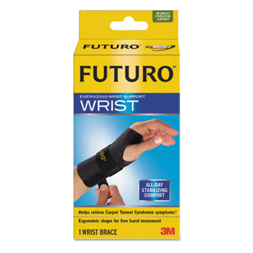 "FUTURO Energizing Wrist Support, S/M, Fits Left Wrists 5 1/2""- 6 3/4"", Black, 12/Carton (MMM48401ENCT)"