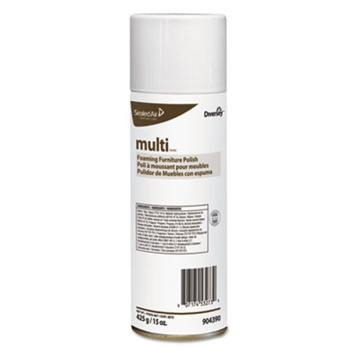 Diversey MULTI Foaming Furniture Polish, Lemon Scent, 15 oz Aerosol, 12/Carton (DVO904390)