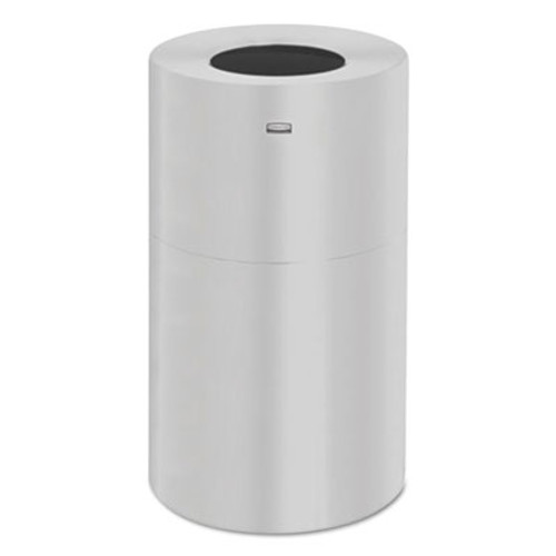 Rubbermaid Commercial 2-Piece Open Top Indoor Receptacle, Round, Galvanized Liner, Satin Alum., 35 gal (RCPAOT35SAGL)