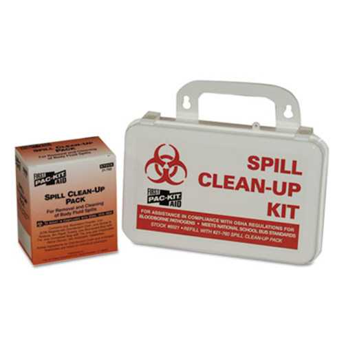First Aid Only BBP Spill Cleanup Kit, 7 1/2 x 4 1/2 x 2 3/4, White (FAO6021)