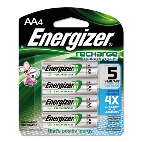 Energizer NiMH Rechargeable Batteries, AA, 4 Batteries/Pack (EVENH15BP4)