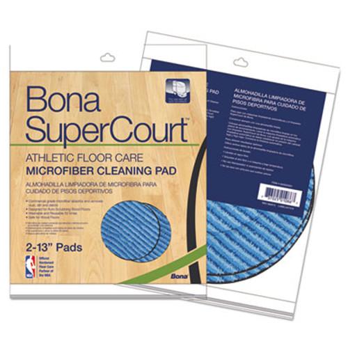 "Bona SuperCourt Athletic Floorcare Microfiber Cleaning Pad, 13"" Dia, Lt/Dk Blue,2/Pk (BNAAX0003501)"