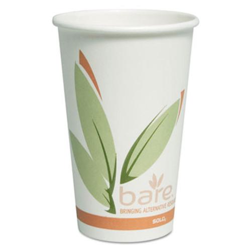 SOLO Cup Company Bare Eco-Forward PCF Hot Cups, Paper, Green/White, 16 oz, 300/Carton (SCCOF16RCJ8484)