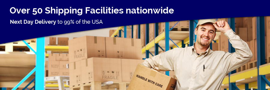 Over 50 shipping facilities available. Next day delivery.