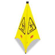 Rubbermaid Commercial Three-Sided Caution, Wet Floor Safety Cone, 21w x 21d x 30h, Yellow (RCP 9S01 YEL)